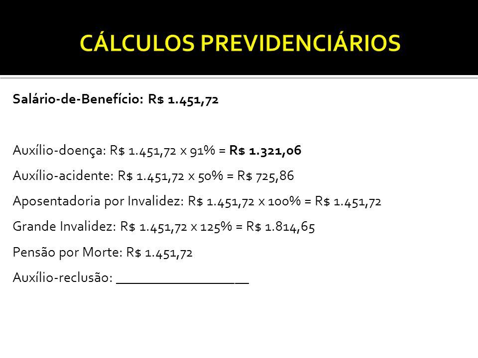 Salário-de-Benefício: R$ 1.451,72 Auxílio-doença: R$ 1.451,72 x 91% = R$ 1.321,06 Auxílio-acidente: R$ 1.451,72 x 50% = R$ 725,86 Aposentadoria por Invalidez: R$ 1.451,72 x 100% = R$ 1.451,72 Grande Invalidez: R$ 1.451,72 x 125% = R$ 1.814,65 Pensão por Morte: R$ 1.451,72 Auxílio-reclusão: ___________________