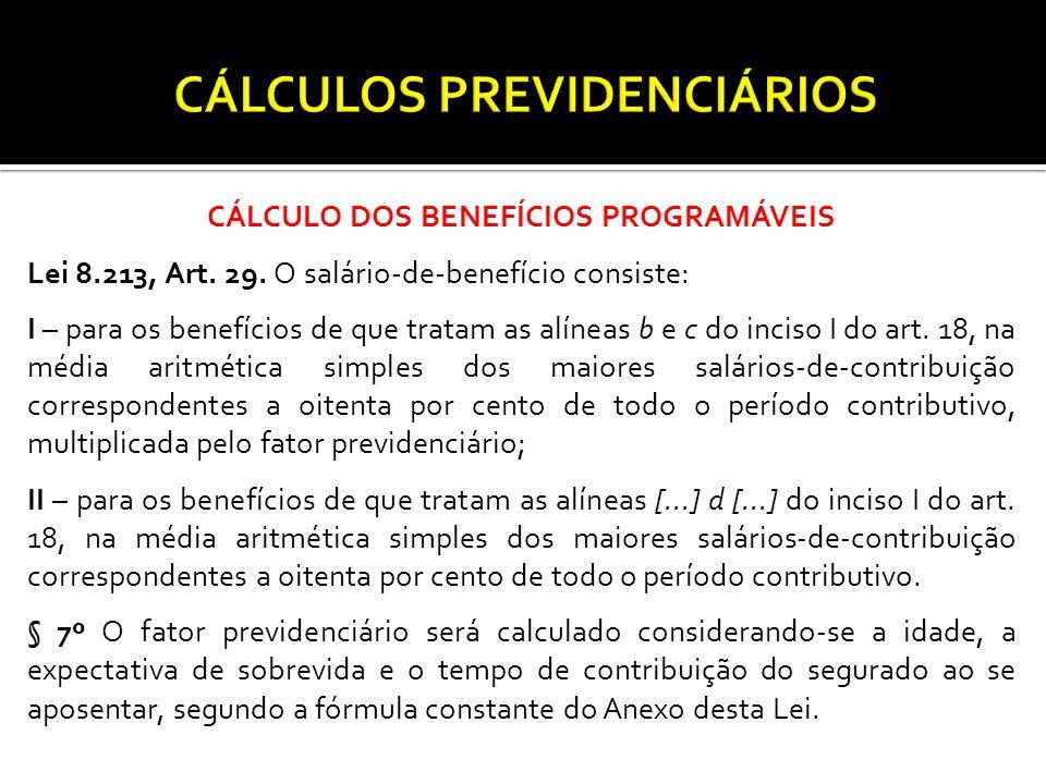 CÁLCULO DOS BENEFÍCIOS PROGRAMÁVEIS Lei 8.213, Art.