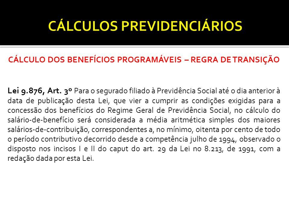CÁLCULO DOS BENEFÍCIOS PROGRAMÁVEIS – REGRA DE TRANSIÇÃO Lei 9.876, Art.