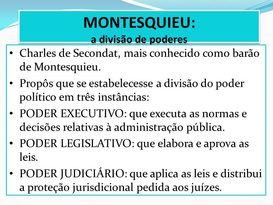 MONTESQUIEU: a divisão de poderes Charles de Secondat, mais conhecido como barão de Montesquieu. Propôs que se estabelecesse a divisão do poder políti