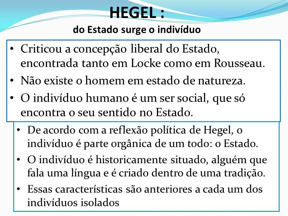 HEGEL : do Estado surge o indivíduo Criticou a concepção liberal do Estado, encontrada tanto em Locke como em Rousseau. Não existe o homem em estado d