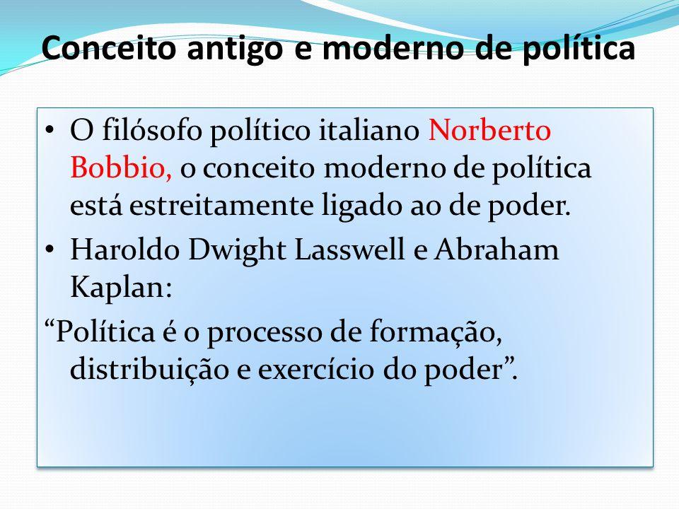Conceito antigo e moderno de política O filósofo político italiano Norberto Bobbio, o conceito moderno de política está estreitamente ligado ao de pod