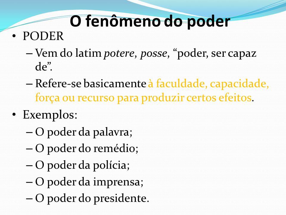 """O fenômeno do poder PODER – Vem do latim potere, posse, """"poder, ser capaz de"""". – Refere-se basicamente à faculdade, capacidade, força ou recurso para"""