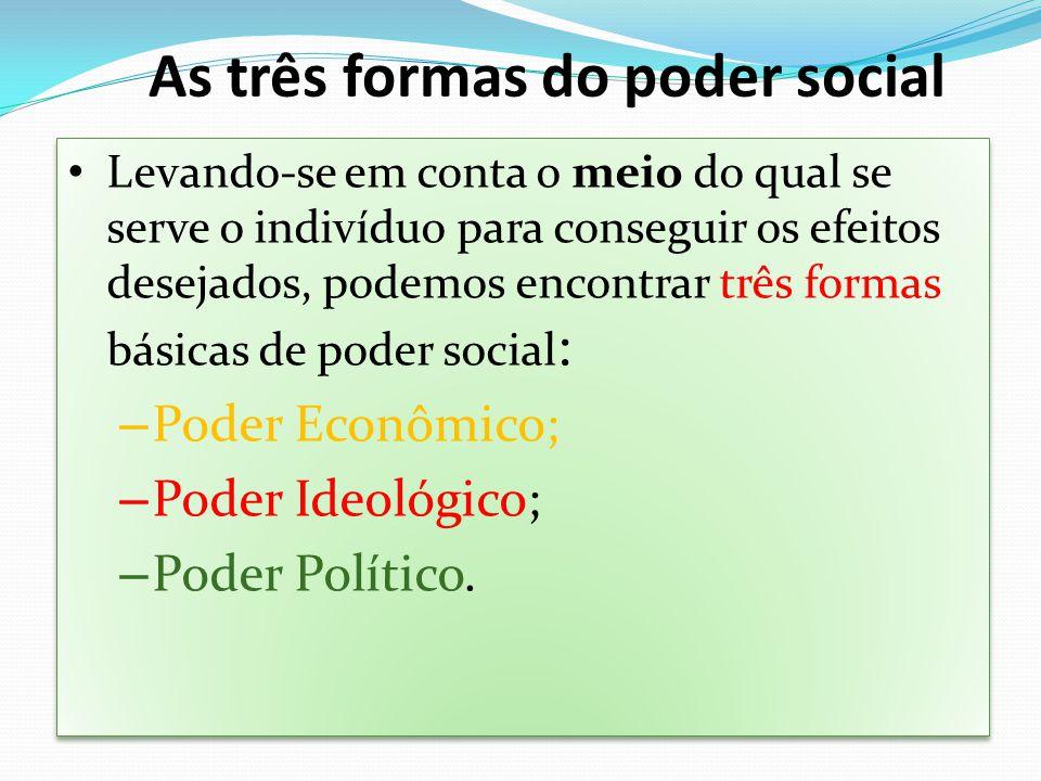 Levando-se em conta o meio do qual se serve o indivíduo para conseguir os efeitos desejados, podemos encontrar três formas básicas de poder social : –