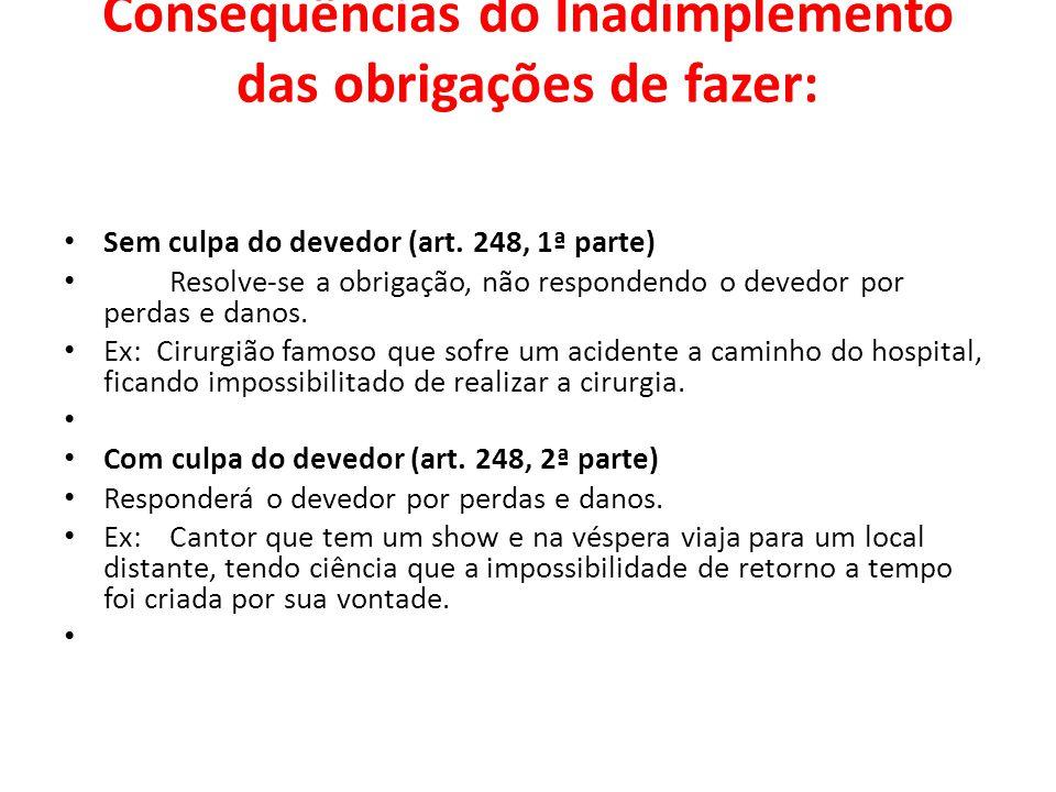 Consequências do Inadimplemento das obrigações de fazer: Sem culpa do devedor (art. 248, 1ª parte) Resolve-se a obrigação, não respondendo o devedor p
