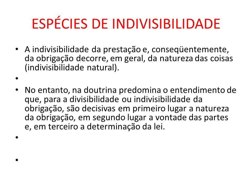 ESPÉCIES DE INDIVISIBILIDADE A indivisibilidade da prestação e, conseqüentemente, da obrigação decorre, em geral, da natureza das coisas (indivisibili