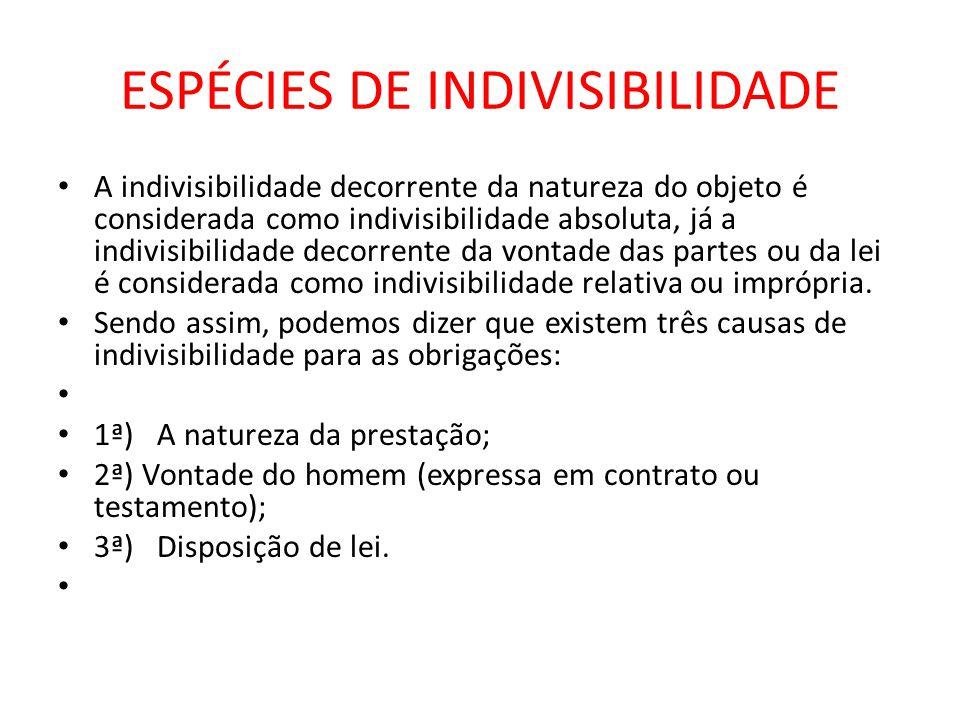 ESPÉCIES DE INDIVISIBILIDADE A indivisibilidade decorrente da natureza do objeto é considerada como indivisibilidade absoluta, já a indivisibilidade d
