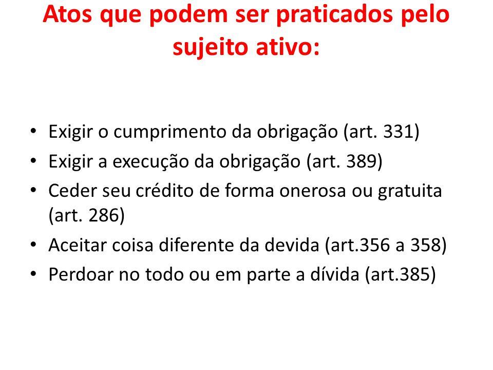 Atos que podem ser praticados pelo sujeito ativo: Exigir o cumprimento da obrigação (art. 331) Exigir a execução da obrigação (art. 389) Ceder seu cré