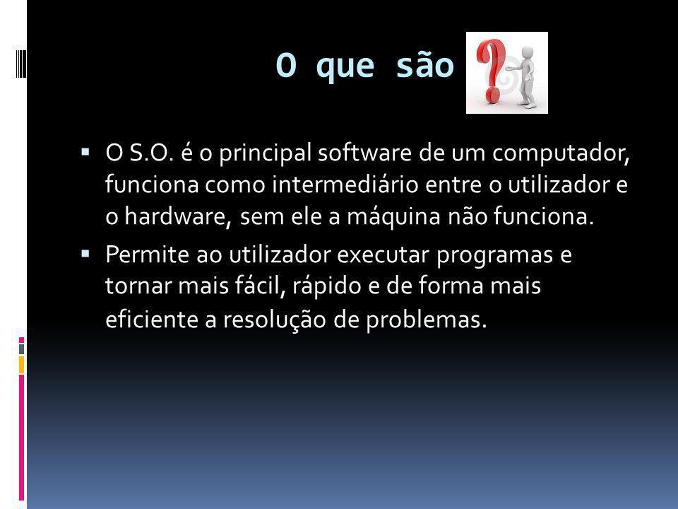 O que são  O S.O. é o principal software de um computador, funciona como intermediário entre o utilizador e o hardware, sem ele a máquina não funcion