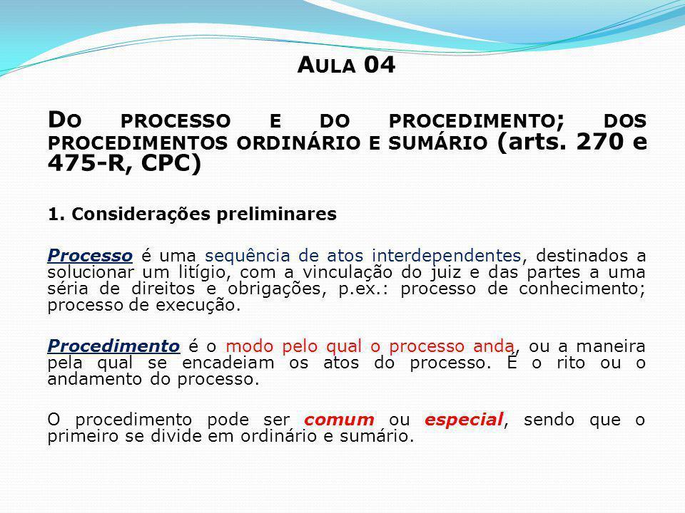 A ULA 04 D O PROCESSO E DO PROCEDIMENTO ; DOS PROCEDIMENTOS ORDINÁRIO E SUMÁRIO (arts. 270 e 475-R, CPC) 1. Considerações preliminares Processo é uma