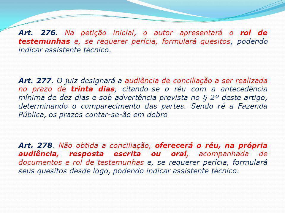 Art. 276. Na petição inicial, o autor apresentará o rol de testemunhas e, se requerer perícia, formulará quesitos, podendo indicar assistente técnico.