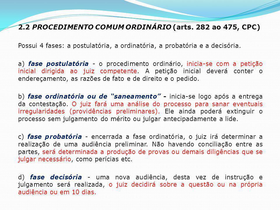 2.2 PROCEDIMENTO COMUM ORDINÁRIO (arts. 282 ao 475, CPC) Possui 4 fases: a postulatória, a ordinatória, a probatória e a decisória. a) fase postulatór