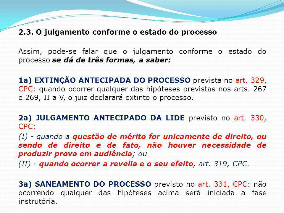2.3. O julgamento conforme o estado do processo Assim, pode-se falar que o julgamento conforme o estado do processo se dá de três formas, a saber: 1a)