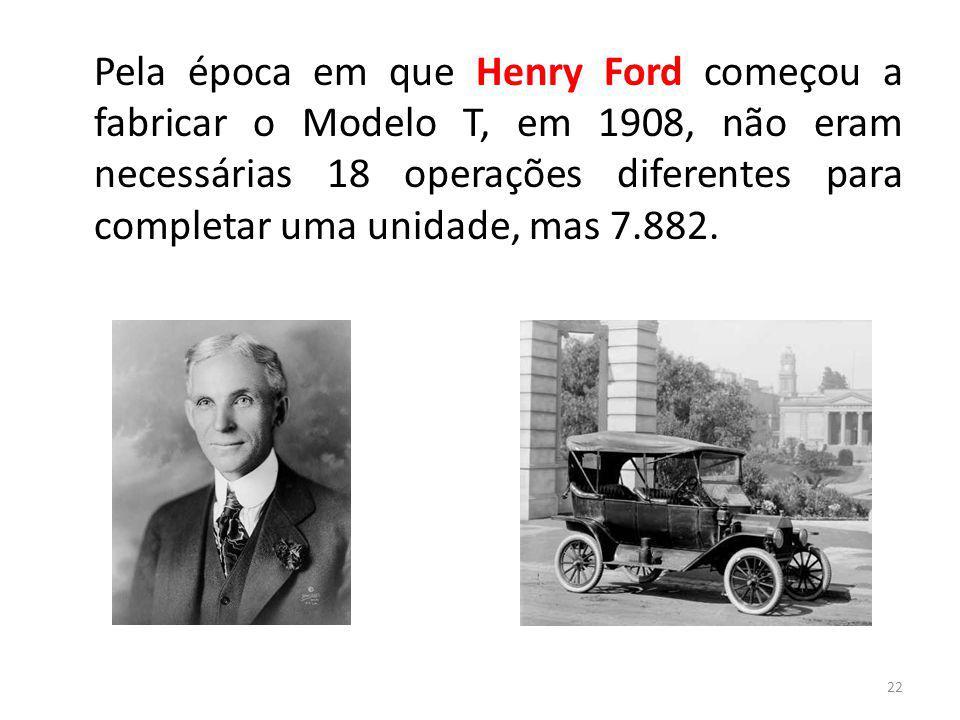 22 Pela época em que Henry Ford começou a fabricar o Modelo T, em 1908, não eram necessárias 18 operações diferentes para completar uma unidade, mas 7