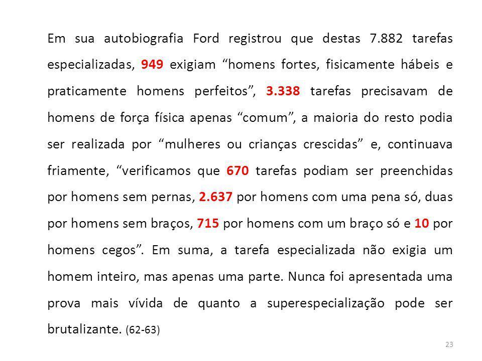 """23 Em sua autobiografia Ford registrou que destas 7.882 tarefas especializadas, 949 exigiam """"homens fortes, fisicamente hábeis e praticamente homens p"""