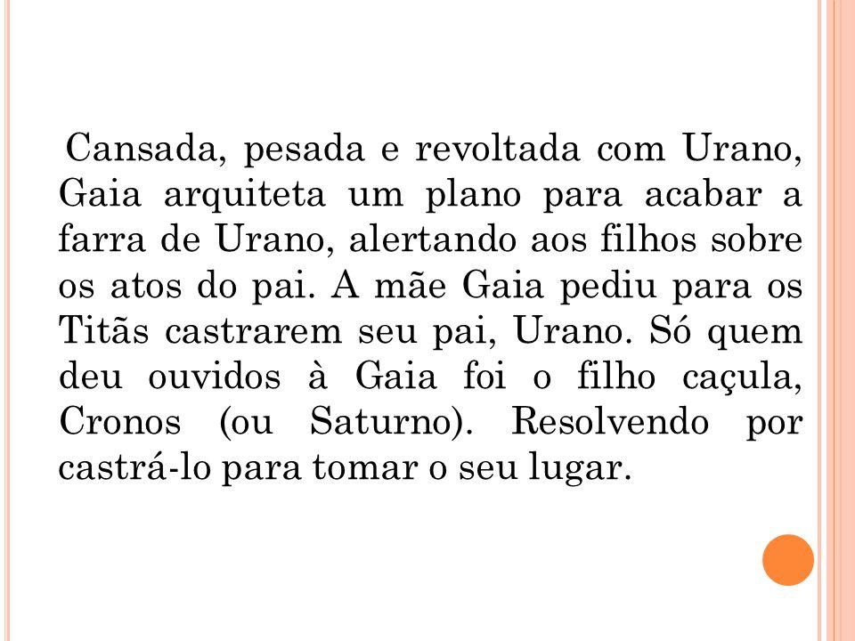 Cansada, pesada e revoltada com Urano, Gaia arquiteta um plano para acabar a farra de Urano, alertando aos filhos sobre os atos do pai. A mãe Gaia ped