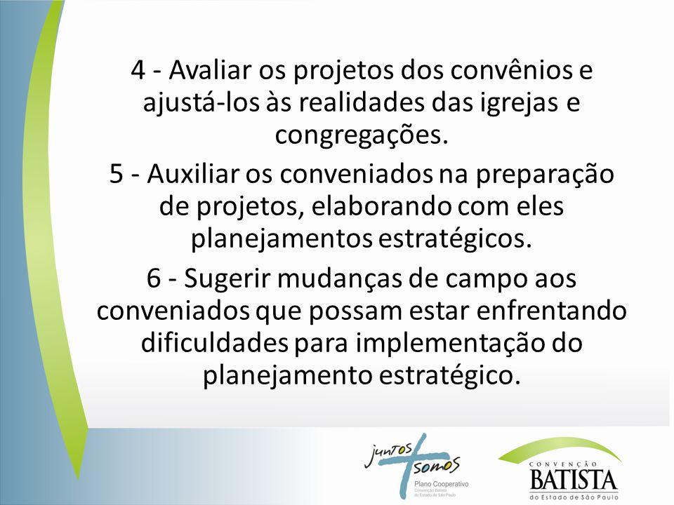4 - Avaliar os projetos dos convênios e ajustá-los às realidades das igrejas e congregações. 5 - Auxiliar os conveniados na preparação de projetos, el