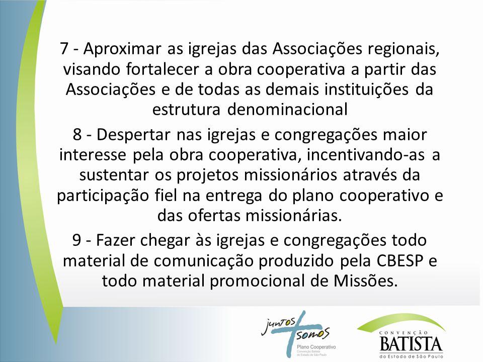 7 - Aproximar as igrejas das Associações regionais, visando fortalecer a obra cooperativa a partir das Associações e de todas as demais instituições d