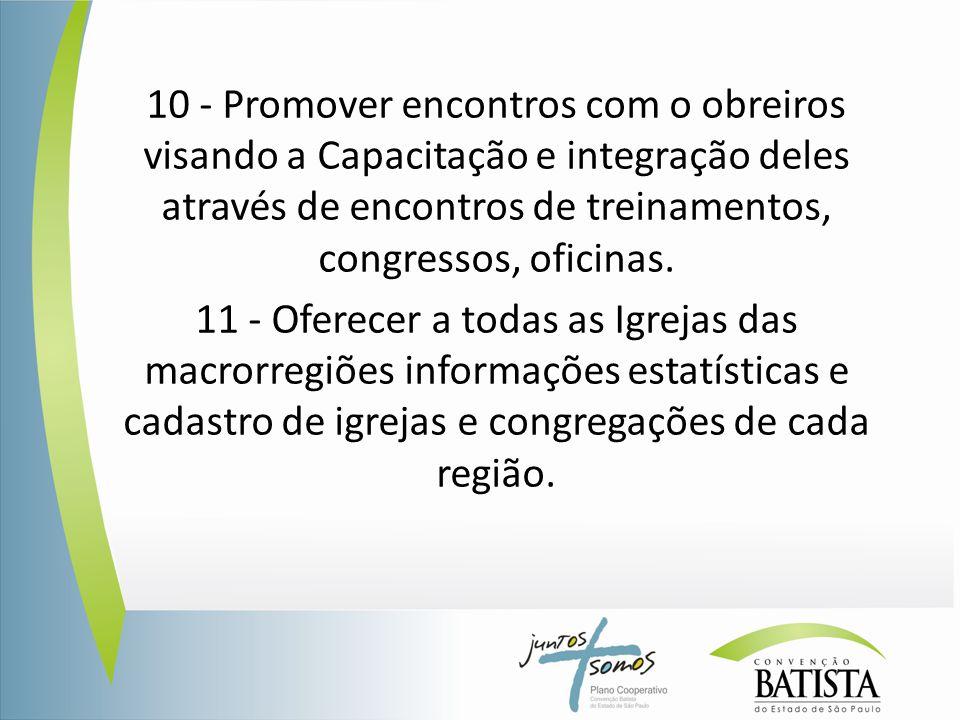 10 - Promover encontros com o obreiros visando a Capacitação e integração deles através de encontros de treinamentos, congressos, oficinas. 11 - Ofere