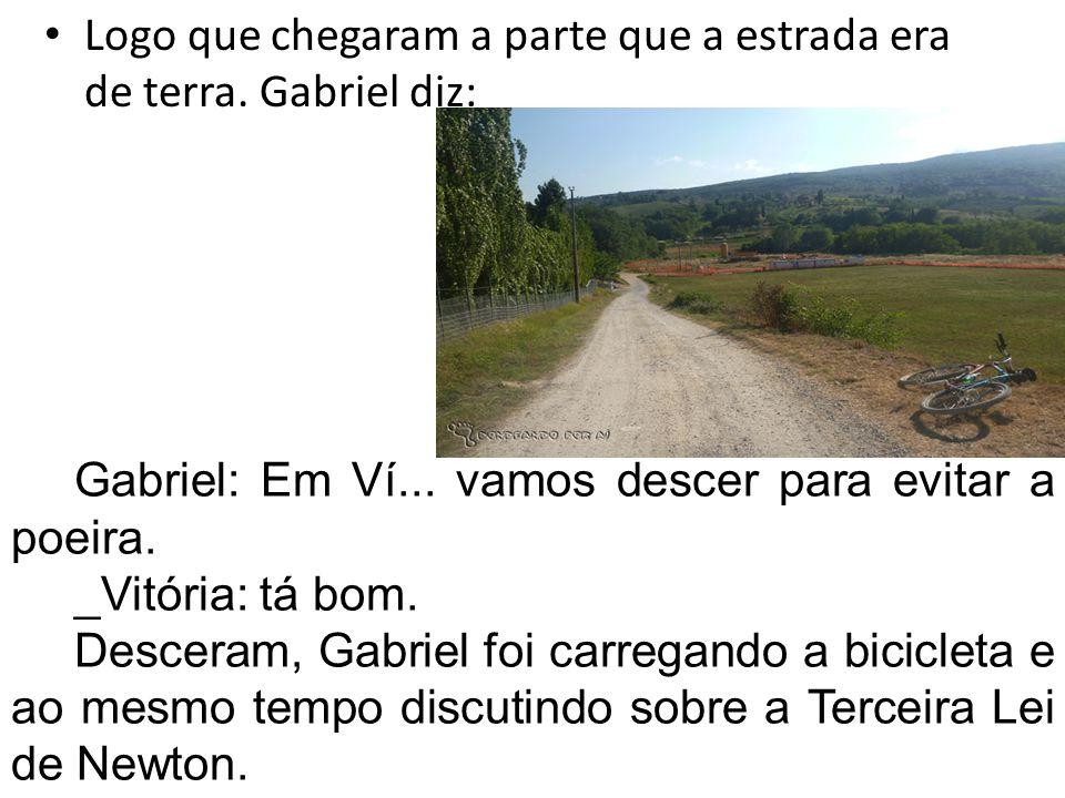 Logo que chegaram a parte que a estrada era de terra. Gabriel diz: Gabriel: Em Ví... vamos descer para evitar a poeira. _Vitória: tá bom. Desceram, Ga