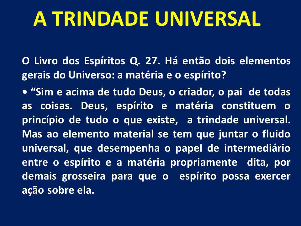 """A TRINDADE UNIVERSAL O Livro dos Espíritos Q. 27. Há então dois elementos gerais do Universo: a matéria e o espírito? """"Sim e acima de tudo Deus, o cri"""