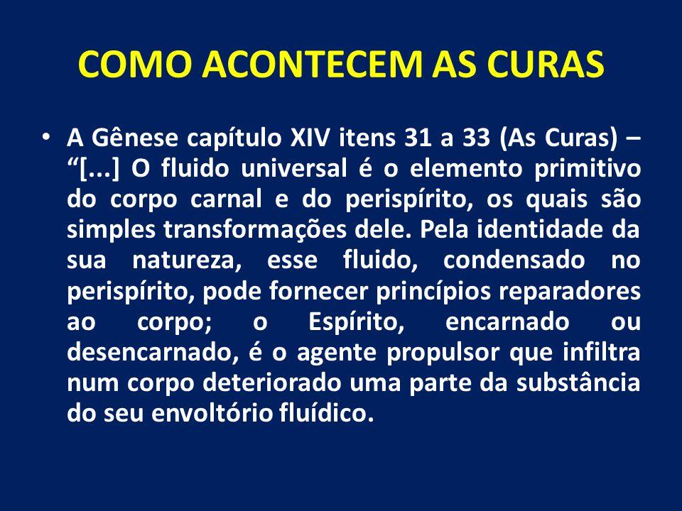 "COMO ACONTECEM AS CURAS A Gênese capítulo XIV itens 31 a 33 (As Curas) – ""[...] O fluido universal é o elemento primitivo do corpo carnal e do perispí"