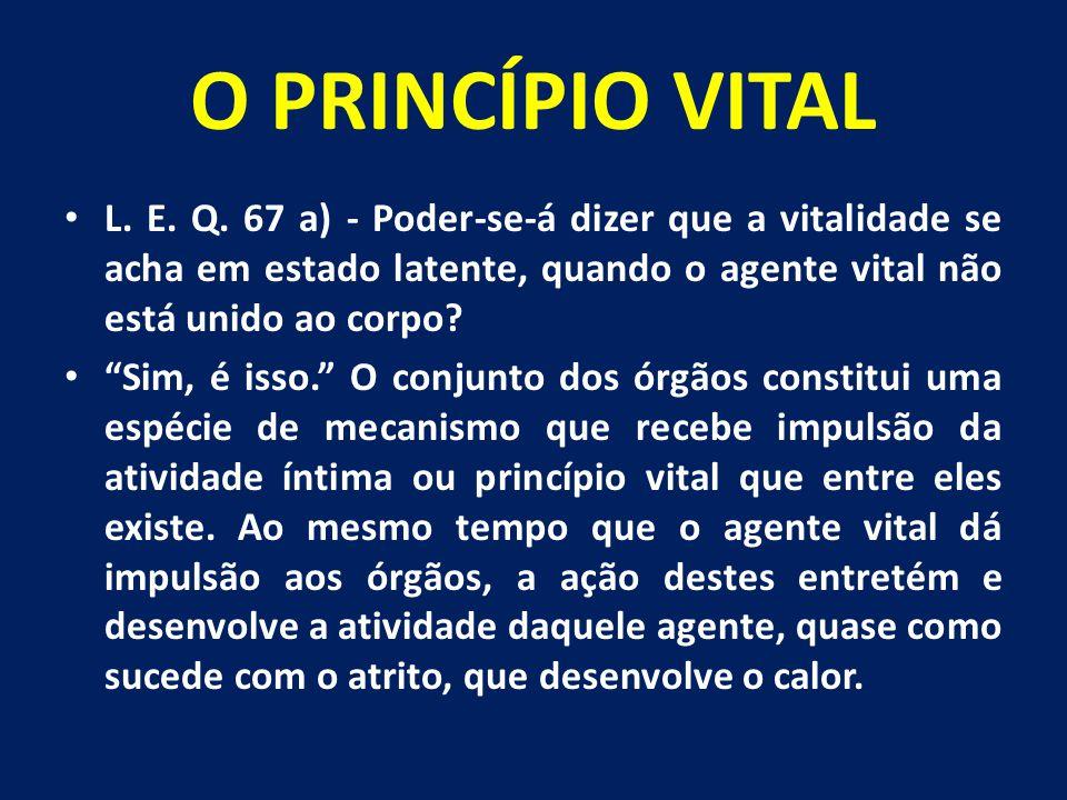 """O PRINCÍPIO VITAL L. E. Q. 67 a) - Poder-se-á dizer que a vitalidade se acha em estado latente, quando o agente vital não está unido ao corpo? """"Sim, é"""