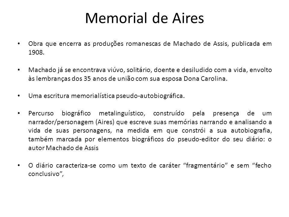 Memorial de Aires Obra que encerra as produções romanescas de Machado de Assis, publicada em 1908.