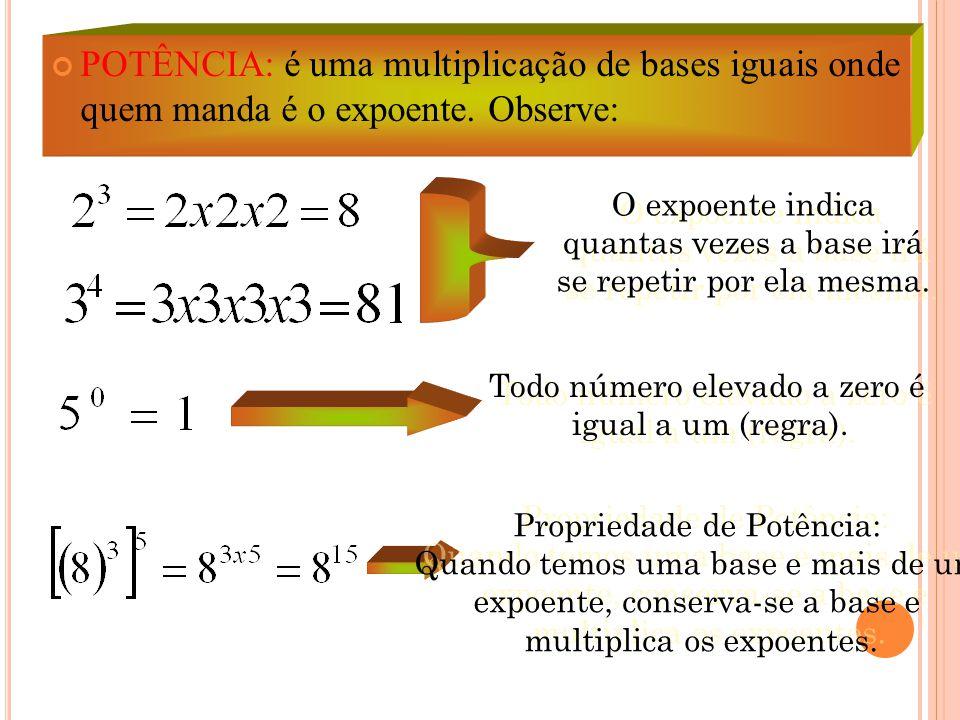 POTÊNCIA: é uma multiplicação de bases iguais onde quem manda é o expoente. Observe: O expoente indica quantas vezes a base irá se repetir por ela mes