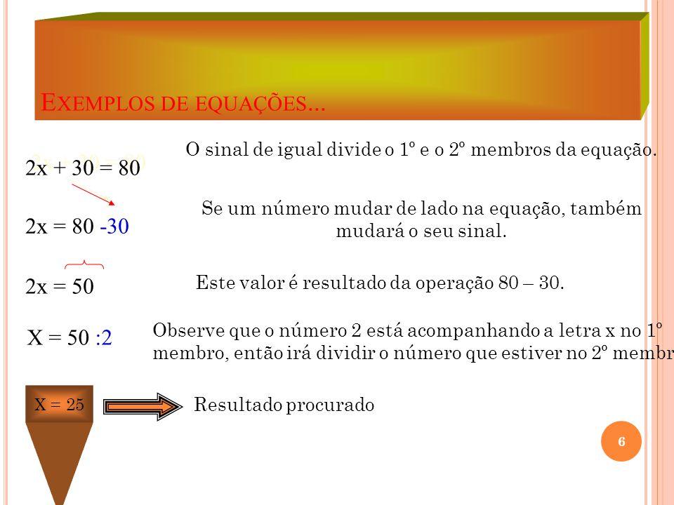 E XEMPLOS DE EQUAÇÕES... 2x + 30 = 80 2x = 80 -30 2x = 50 X = 50 :2 O sinal de igual divide o 1º e o 2º membros da equação. Se um número mudar de lado