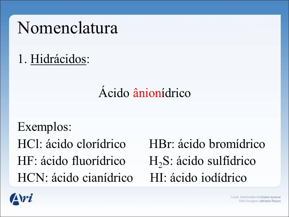 Nomenclatura 1. Hidrácidos: Ácido ânionídrico Exemplos: HCl: ácido clorídrico HBr: ácido bromídrico HF: ácido fluorídrico H 2 S: ácido sulfídrico HCN: