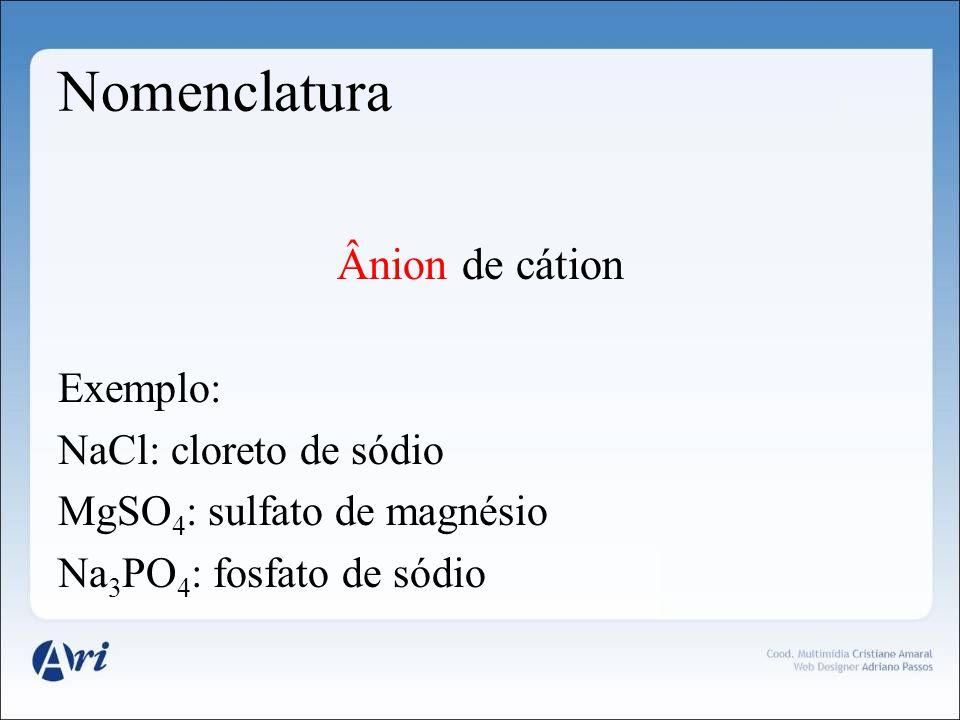 Nomenclatura Ânion de cátion Exemplo: NaCl: cloreto de sódio MgSO 4 : sulfato de magnésio Na 3 PO 4 : fosfato de sódio