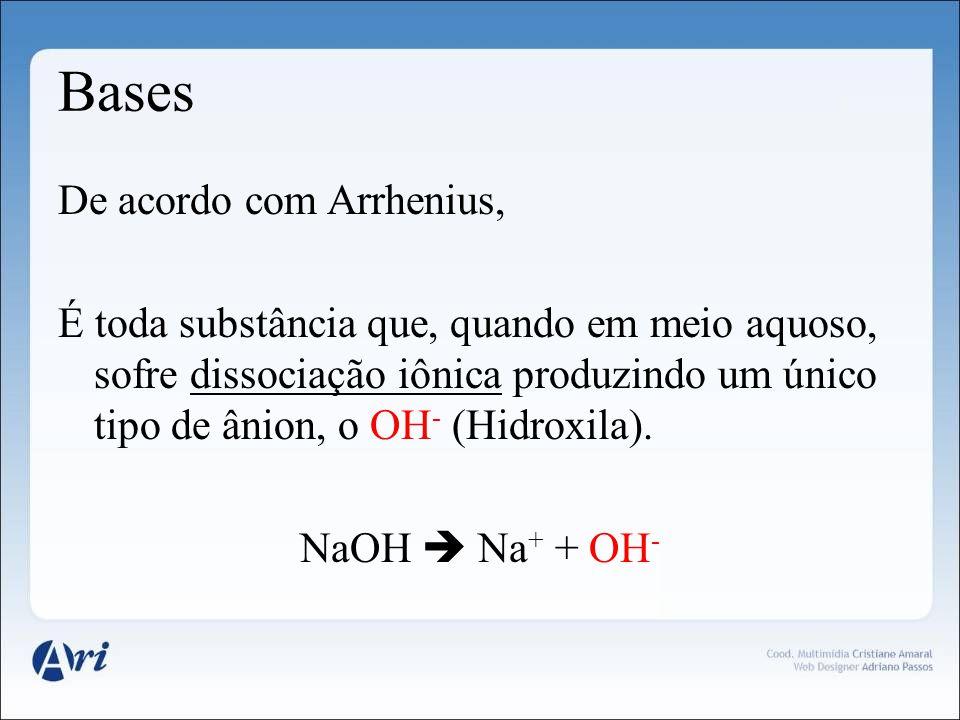 Bases De acordo com Arrhenius, É toda substância que, quando em meio aquoso, sofre dissociação iônica produzindo um único tipo de ânion, o OH - (Hidro