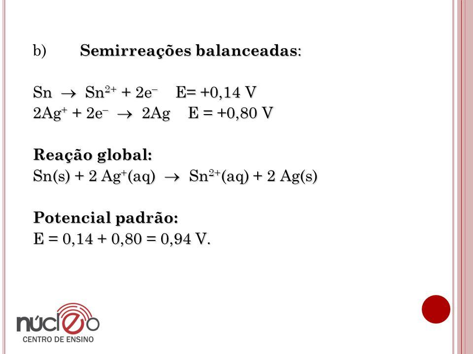 Semirreações balanceadas : b) Semirreações balanceadas : Sn  Sn 2+ + 2e – E= +0,14 V 2Ag + + 2e –  2Ag E = +0,80 V Reação global: Sn(s) + 2 Ag + (aq)  Sn 2+ (aq) + 2 Ag(s) Potencial padrão: E = 0,14 + 0,80 = 0,94 V.