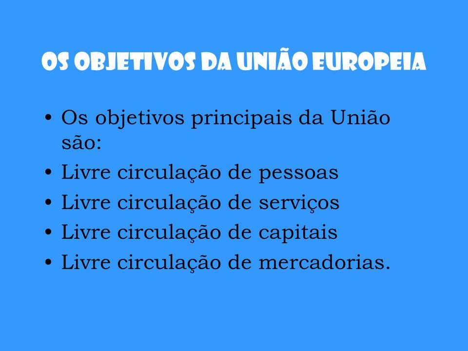 Os objetivos da União Europeia Os objetivos principais da União são: Livre circulação de pessoas Livre circulação de serviços Livre circulação de capi