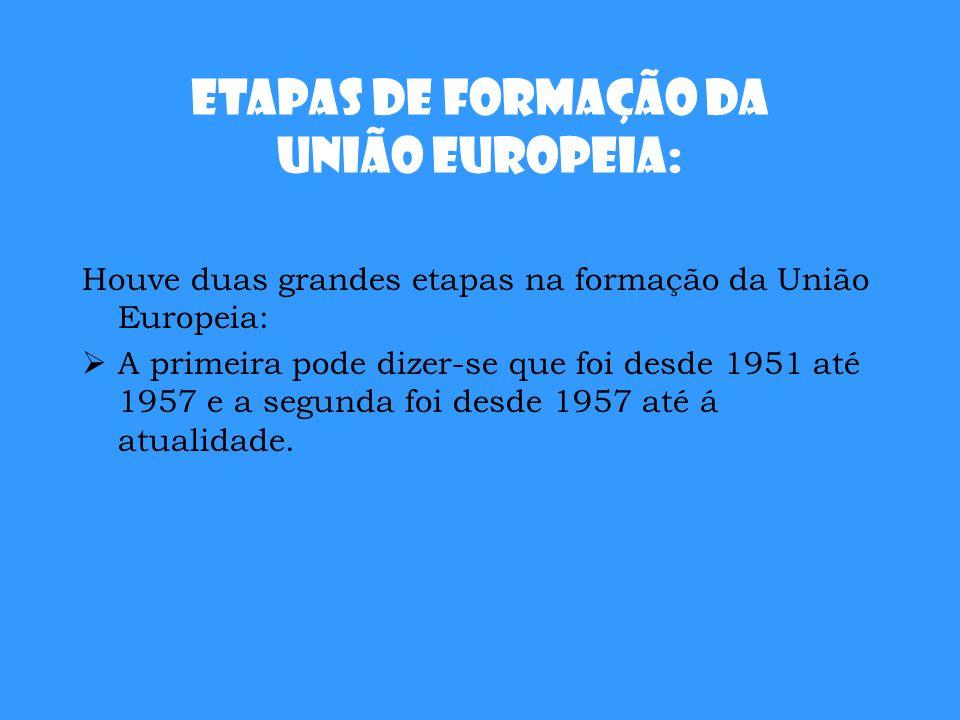 Etapas de Formação da União Europeia: Houve duas grandes etapas na formação da União Europeia:  A primeira pode dizer-se que foi desde 1951 até 1957