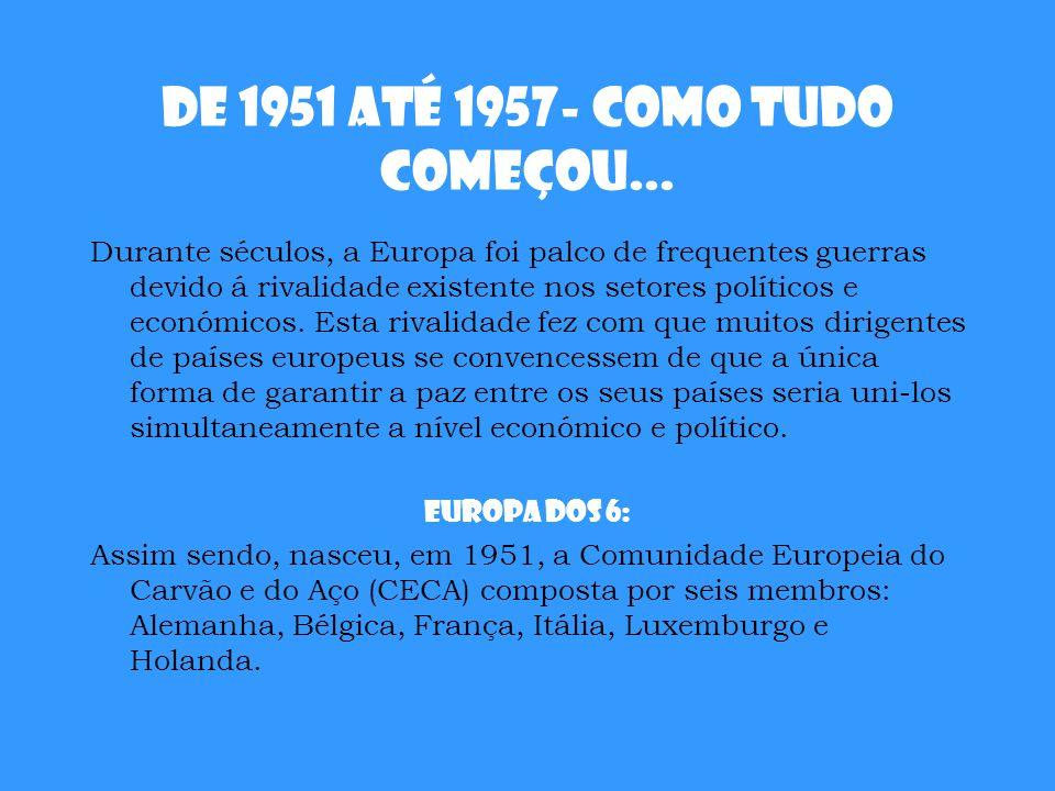 De 1951 até 1957- Como tudo começou... Durante séculos, a Europa foi palco de frequentes guerras devido á rivalidade existente nos setores políticos e