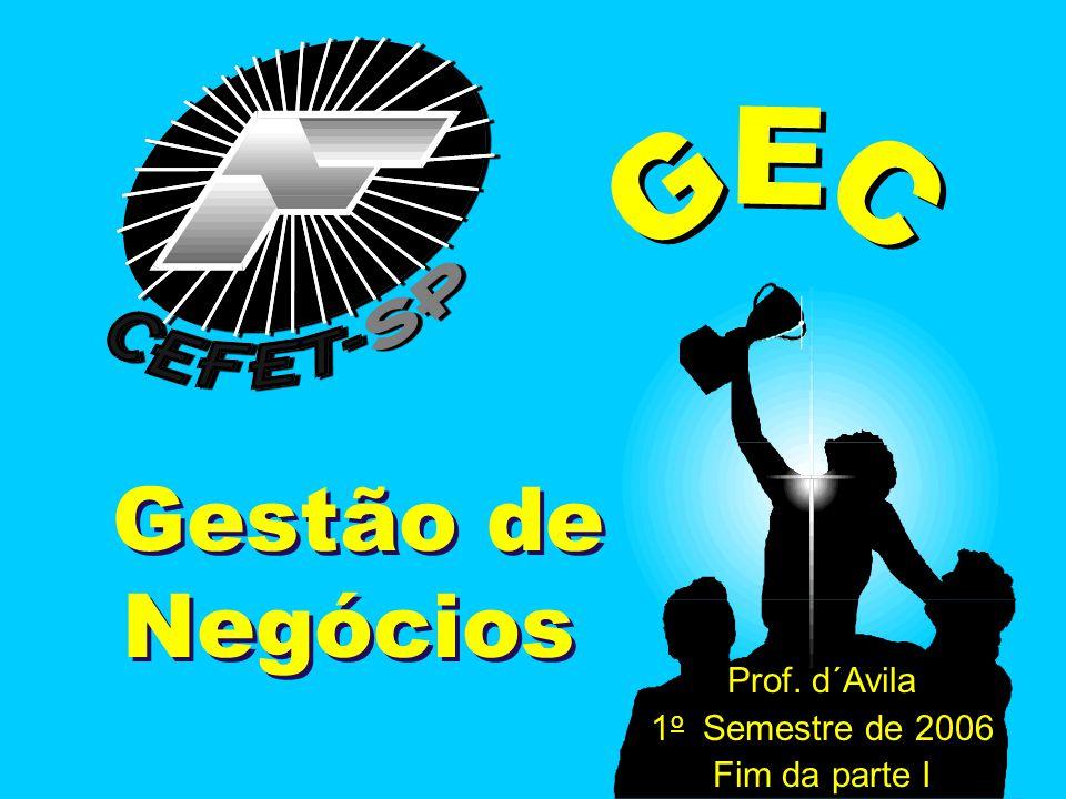 GEC Gestão de Negócios Prof. d´Avila 1 o Semestre de 2006 Fim da parte I
