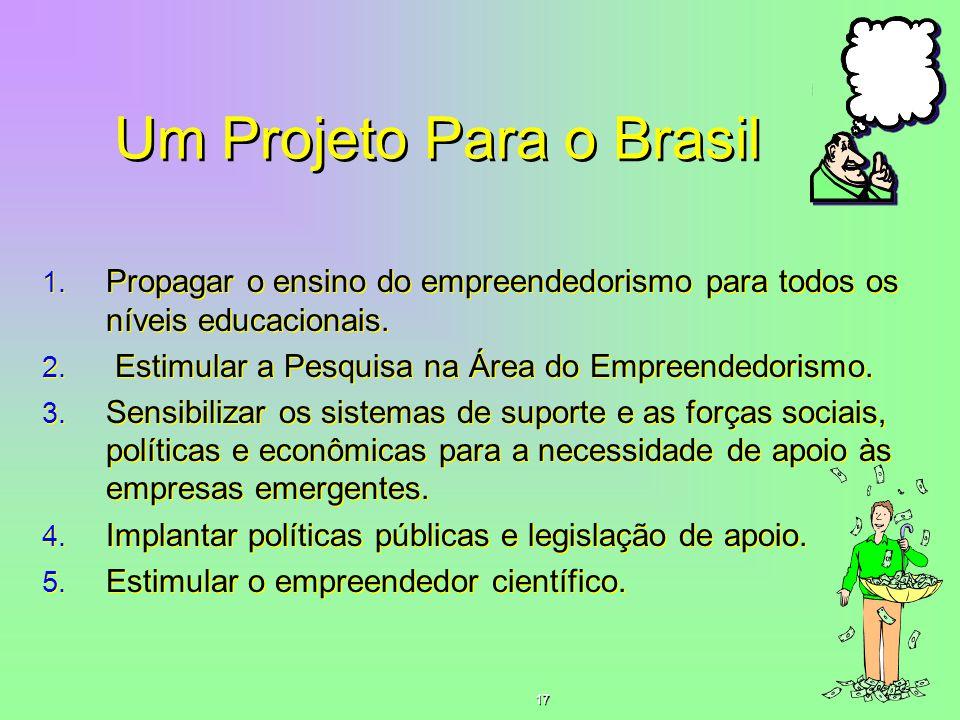 Um Projeto Para o Brasil 1. Propagar o ensino do empreendedorismo para todos os níveis educacionais. 2. Estimular a Pesquisa na Área do Empreendedoris