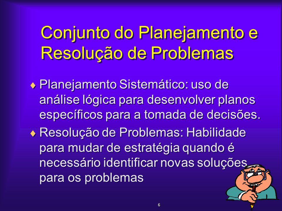 Conjunto do Planejamento e Resolução de Problemas  Planejamento Sistemático: uso de análise lógica para desenvolver planos específicos para a tomada
