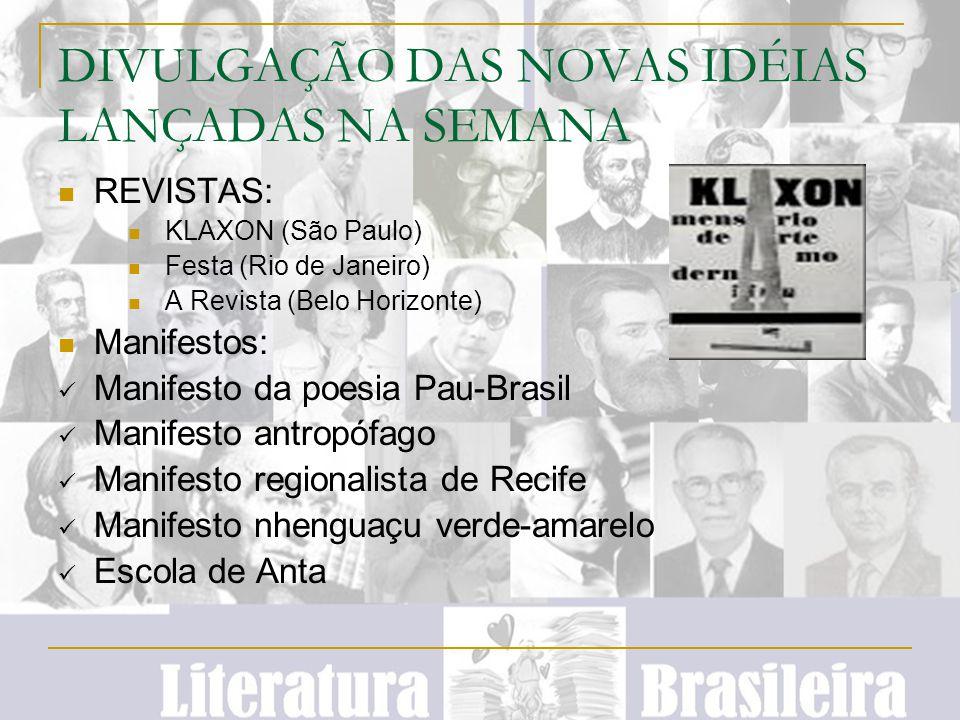 DIVULGAÇÃO DAS NOVAS IDÉIAS LANÇADAS NA SEMANA REVISTAS: KLAXON (São Paulo) Festa (Rio de Janeiro) A Revista (Belo Horizonte) Manifestos: Manifesto da