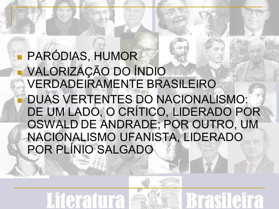 PARÓDIAS, HUMOR VALORIZAÇÃO DO ÍNDIO VERDADEIRAMENTE BRASILEIRO DUAS VERTENTES DO NACIONALISMO: DE UM LADO, O CRÍTICO, LIDERADO POR OSWALD DE ANDRADE;