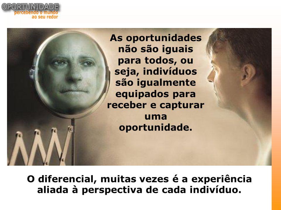 As oportunidades não são iguais para todos, ou seja, indivíduos são igualmente equipados para receber e capturar uma oportunidade.