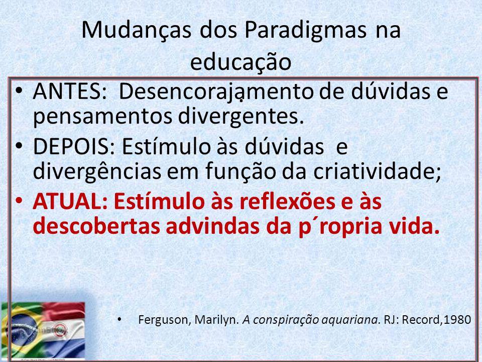 Mudanças dos Paradigmas na educação.ANTES: Desencorajamento de dúvidas e pensamentos divergentes.