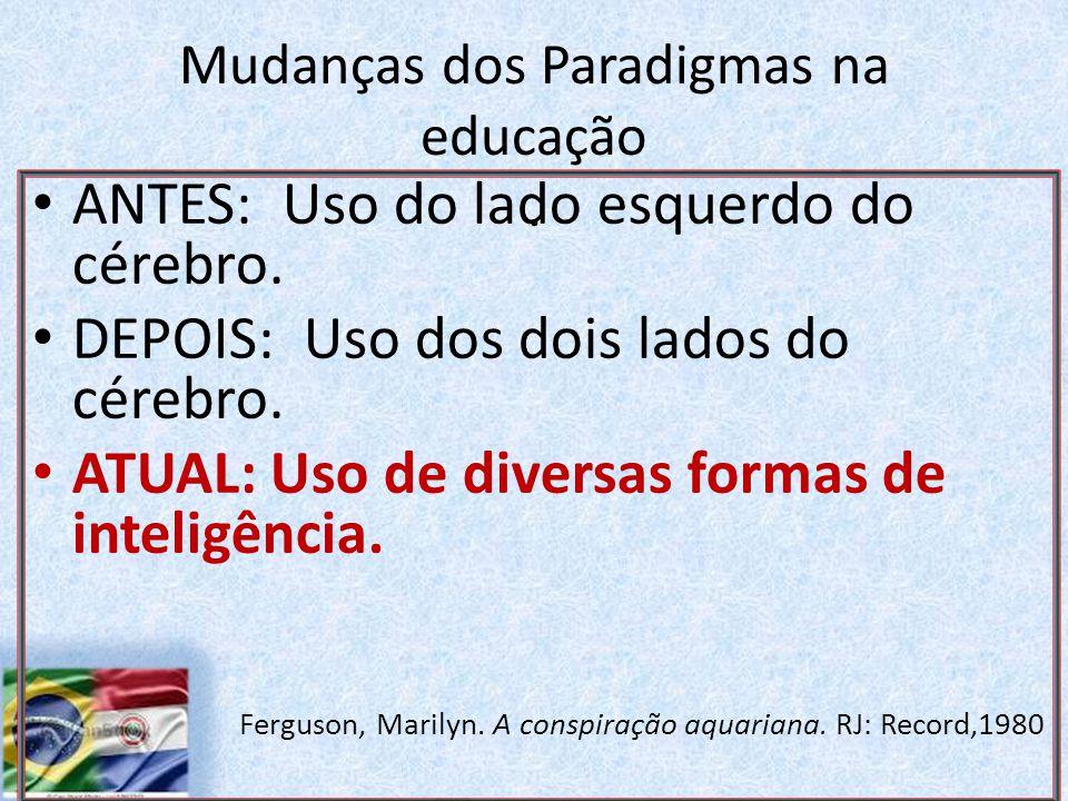 Mudanças dos Paradigmas na educação.ANTES: Uso do lado esquerdo do cérebro.