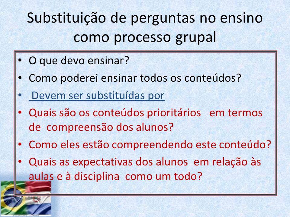 Substituição de perguntas no ensino como processo grupal O que devo ensinar.