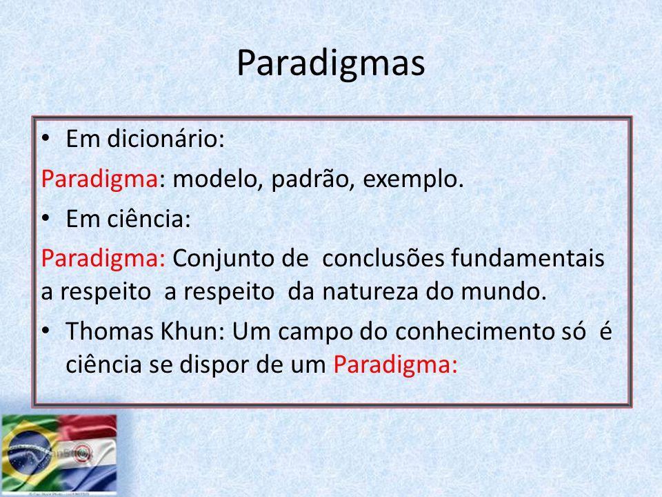 Paradigmas Em dicionário: Paradigma: modelo, padrão, exemplo.