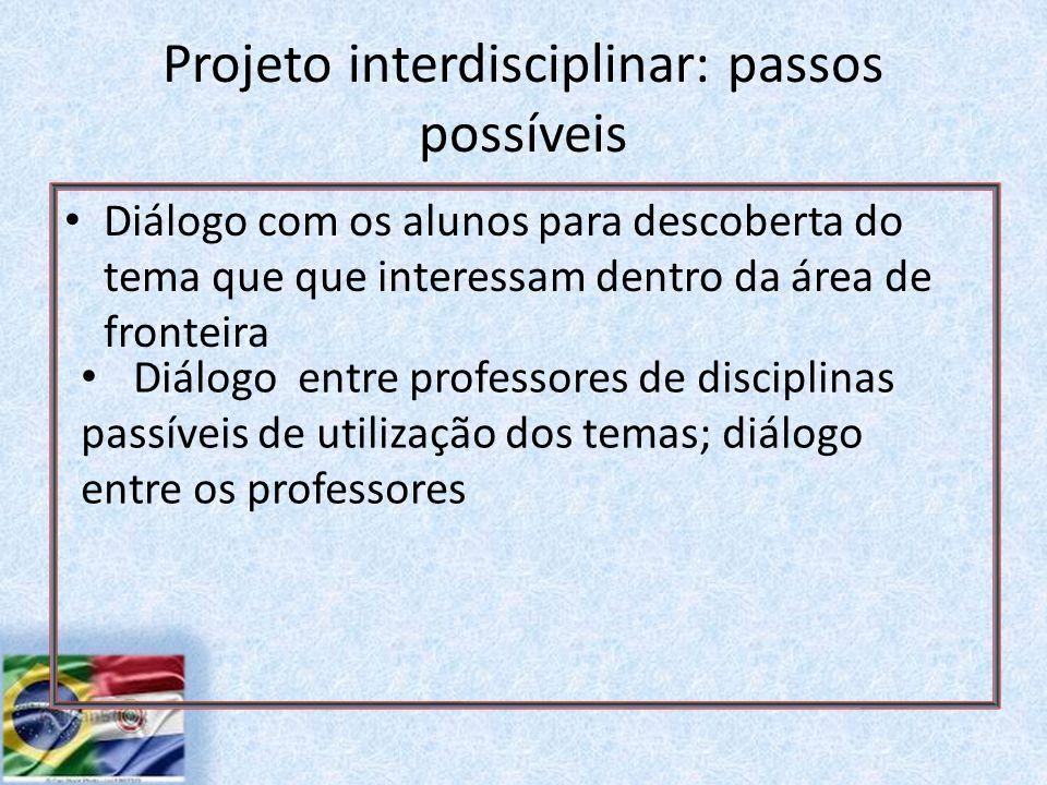 Projeto interdisciplinar: passos possíveis Diálogo com os alunos para descoberta do tema que que interessam dentro da área de fronteira Diálogo entre professores de disciplinas passíveis de utilização dos temas; diálogo entre os professores