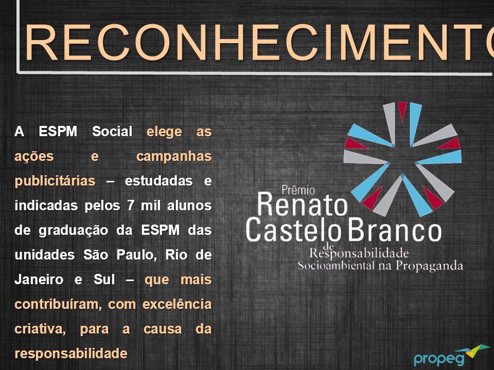 A ESPM Social elege as ações e campanhas publicitárias – estudadas e indicadas pelos 7 mil alunos de graduação da ESPM das unidades São Paulo, Rio de Janeiro e Sul – que mais contribuíram, com excelência criativa, para a causa da responsabilidade socioambiental.