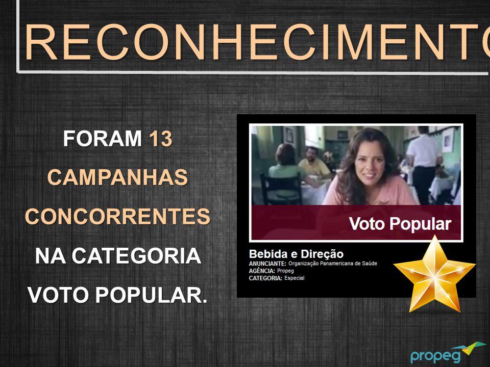FORAM 13 CAMPANHAS CONCORRENTES NA CATEGORIA VOTO POPULAR. RECONHECIMENTO